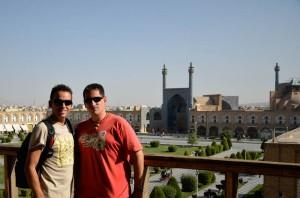 Isaac y yo en la Plaza del Imam de Isfahán