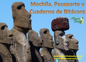 Mochila, pasaporte y cuaderno de bitácora