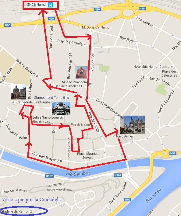 Mapa de Namur en bicicleta